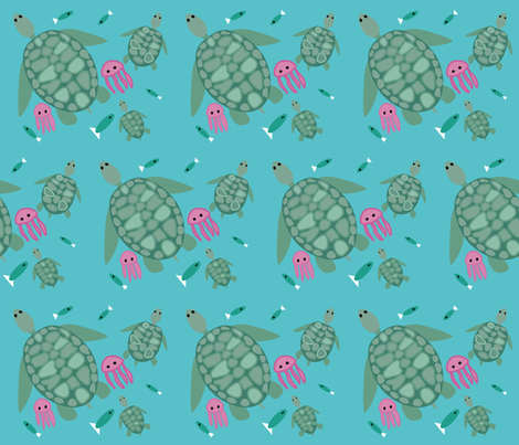 Kemp's Ridley and buddies fabric by dnbmama on Spoonflower - custom fabric