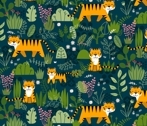 Tiger, Tiger fabric by lellobird on Spoonflower - custom fabric