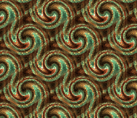 Autumnal Mosaic Wave (dark) fabric by pixelstitchstudio on Spoonflower - custom fabric
