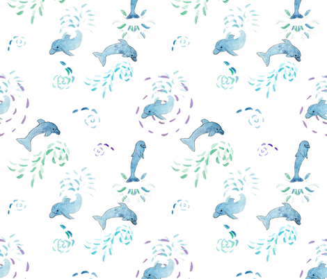 Dolphin Splash fabric by dreamoutloudart on Spoonflower - custom fabric