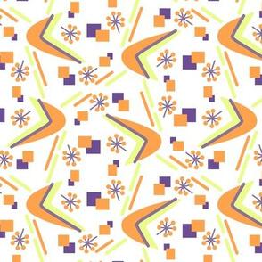 Atomic Boomerang in Orange Purple and Yellowgreen