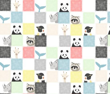Checkerboard animals fabric by kurull on Spoonflower - custom fabric