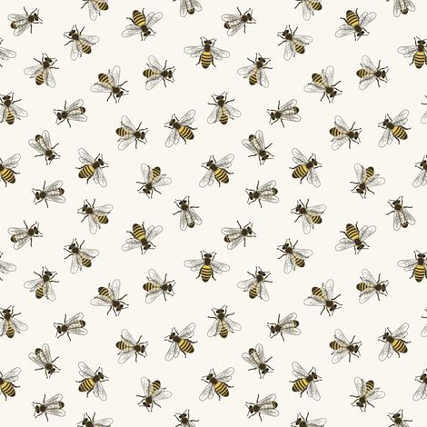 Honey Bees - Small - H White fabric by fernlesliestudio on Spoonflower - custom fabric