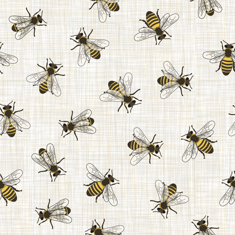 Honey Bees - Mixed Linen fabric by fernlesliestudio on Spoonflower - custom fabric