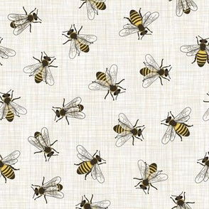 Honey Bees - Mixed Linen - Linen Background