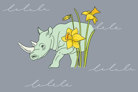 White_Rhino_March_Daffodil fabric by aspenartsstudio on Spoonflower - custom fabric