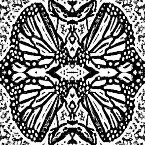 Woodcut Monarch Butterfly Damask 2 Black & White