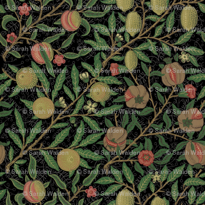 Fruit ~ William Morris ~ Original on  Black
