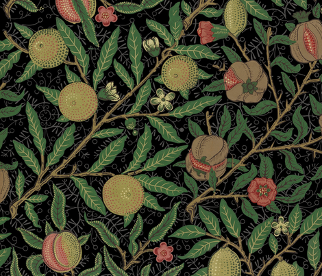 Fruit ~ William Morris ~ Original on  Black   fabric by peacoquettedesigns on Spoonflower - custom fabric