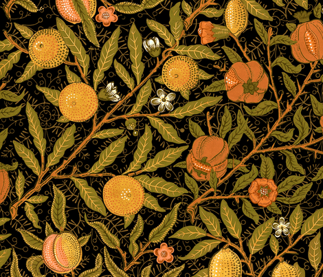 Fruit ~ William Morris ~ Citrus on Black  fabric by peacoquettedesigns on Spoonflower - custom fabric