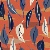 Floating Leaves - Blue, Chili Red