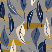 Floating Leaves - Blue, Grey, Caramel