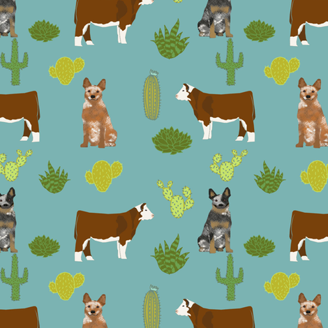 australian cattle dog with cattle red heeler and blue heeler fabric blue/green fabric by petfriendly on Spoonflower - custom fabric