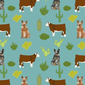 australian cattle dog with cattle red heeler and blue heeler fabric blue/green