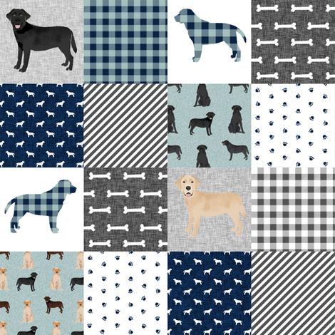Labradors (2 inch) pet quilt b cheater wholecloth dog breed fabric fabric by petfriendly on Spoonflower - custom fabric
