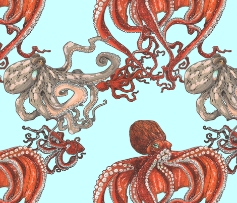 Octopus Party Light Aqua fabric by janetleeart on Spoonflower - custom fabric