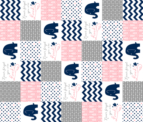 navy pink elephants fabric by sewluvin on Spoonflower - custom fabric
