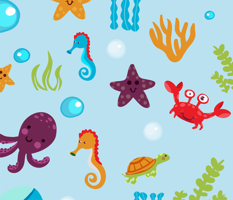 Fun Sea Life fabric by doodleheaddee on Spoonflower - custom fabric