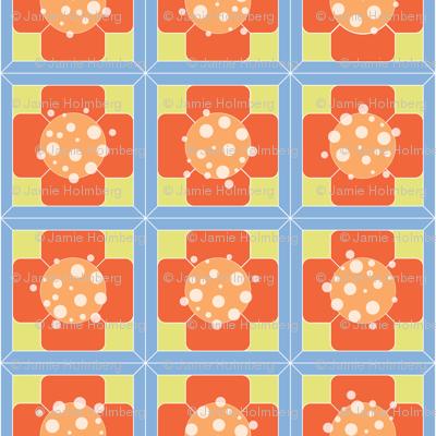 Orange Floral Tiles