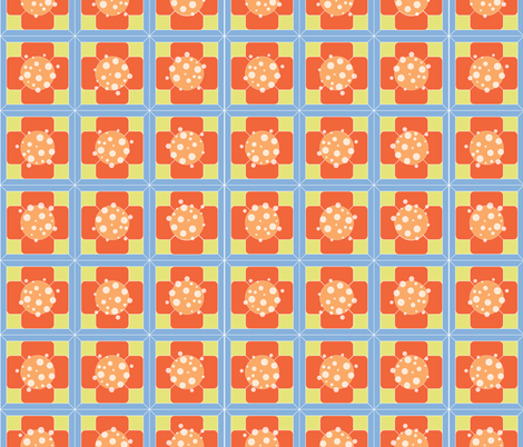 Orange Floral Tiles fabric by jambergs on Spoonflower - custom fabric