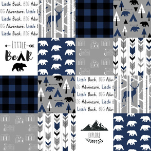 The Woodsman Cheater Quilt Navy