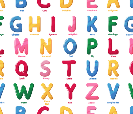 zoo alphabet pattern fabric by danira on Spoonflower - custom fabric