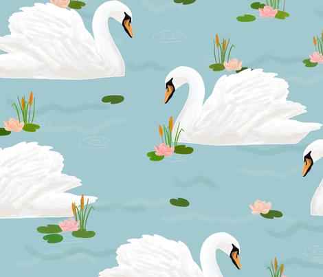Swan (blue) fabric by lydia_meiying on Spoonflower - custom fabric