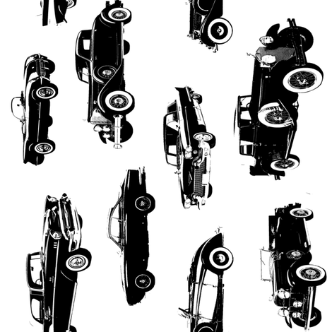 """Vintage Cars  - Vertical // Large (4"""") fabric by thinlinetextiles on Spoonflower - custom fabric"""
