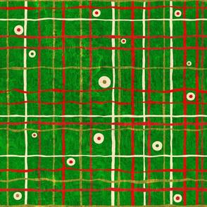 Christmas Blossom: Olive Dots on Plaid