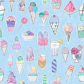 Icecreams, popsicles on iceblue