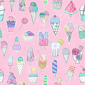 Icecreams, popsicles, smoothies on pink