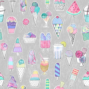 Icecreams, popsicles, smoothies on light grey