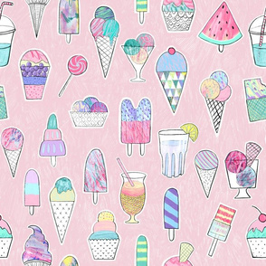 Icecreams, popsicles, smoothies on blush pink