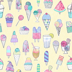 icecreams, popsicles, smoothies on light yellow