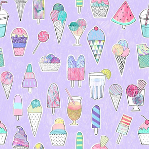 Icecreams, popsicles, smoothies on lavender