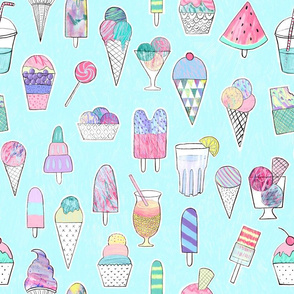 Icecreams, popsicles, smoothies on mint
