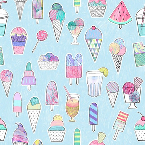 icecreams popsicles smoothies on light blue