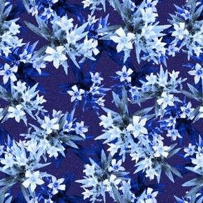 White  flowers on dark blue background, Good for denim fabric