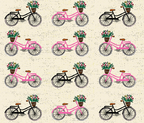 Sweet cycling beige pink fabric by tatiabaurre on Spoonflower - custom fabric