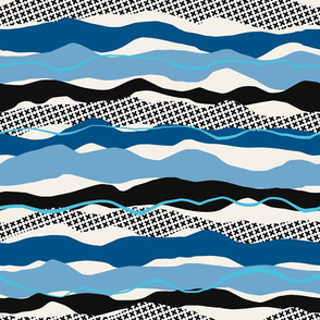 Waves, Ripples and Crosses, midnight blue, electric, black