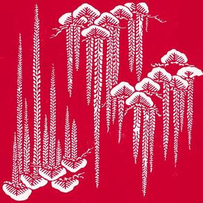 Japenese stencils in Raspberry