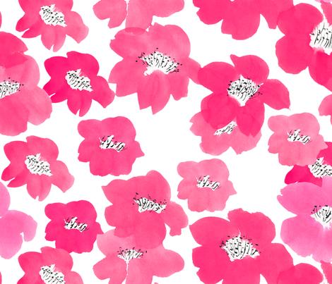 Camellias in Pink fabric by karo_karolinko on Spoonflower - custom fabric