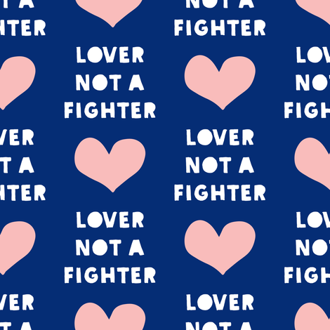 (large scale) lover not a fighter - pink and blue C18BS  fabric by littlearrowdesign on Spoonflower - custom fabric