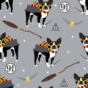 boston potter grey magical witch dog fabric