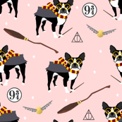 boston potter  magical witch dog fabric pink