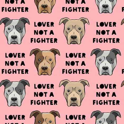 lover not a fighter - pit bull on pink (black text) fabric by littlearrowdesign on Spoonflower - custom fabric