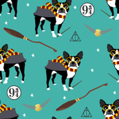 boston potter  magical witch dog fabric teal