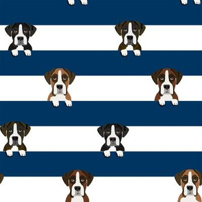 boxer stripes dog fabric navy