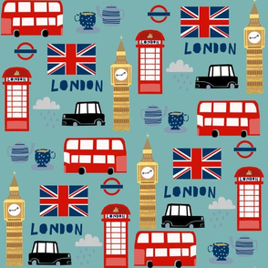london england fabric world cities blue/green