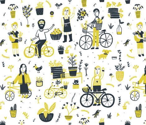 Garden on wheels fabric by ana_harrill on Spoonflower - custom fabric